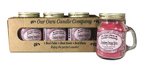 Our Own Candle Company Cranberry Orange Spice Scented Mini Mason Jar Candle by, 3.5 Ounce (4 Pack)