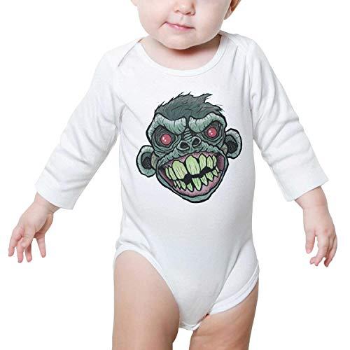 PoPBelle Red Eye Monkey Baby Onesies White Romper Long Sleeve Neutral Cotton Outdoor