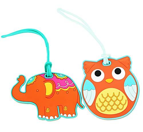 ShineSnow Elephant Travel Luggage Tags Set Cute Owl Bag Suitcase ID Labels 2pcs