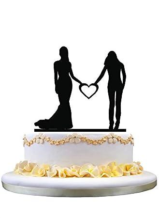Lesbische Hochzeitstorte Topper Braut Und Braut Holding Ein Herz