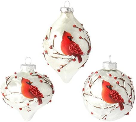 """NEW!~RAZ Imports~15/"""" Christmas Winter Red Berry Branch Finial Glass Tree Decor"""