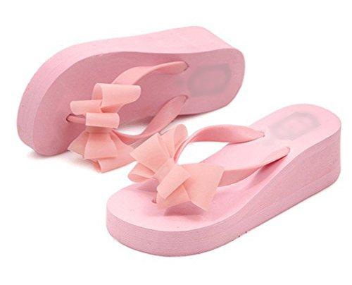 Nanxson (tm) Femmes Sandales Compensées Flip Flop Avec Bowknot Pantoufles À Talons Hauts Tx0029 Rose