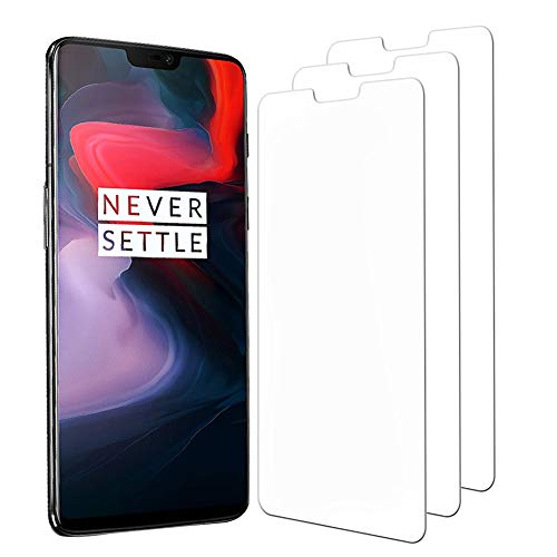 [3 Pack] OnePlus 6 Screen Protector, Hattomen Full Coverage, 9H Hardness, HD Clear, Bubble Free Installation Tempered Glass Screen Protector for OnePlus 6