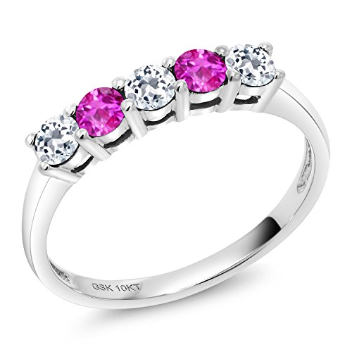 0.68 Ct Round White Topaz Pink Sapphire 10K White Gold 5 Stone Anniversary Band Ring (Size 9)