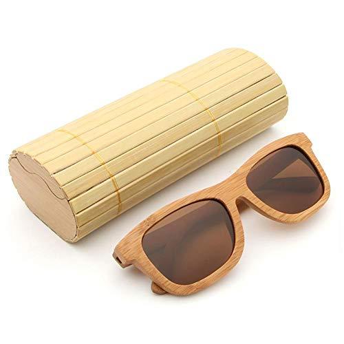 Gafas Mujer Sol de Sol Gafas Polarizadas Bambú Caja Caminante Bambú AZB para Hombre de de la Flotante de Madera Vendimia con y de la Café de wvEqx7zZ