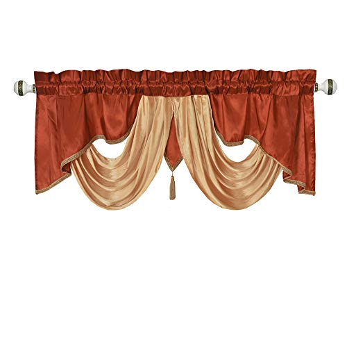 Valarie Fancy Window Valance. 54 x 18. Taffeta Fabric with Soft Satin Swag. Add Some Royal luxruy Accent to Your Home. ()