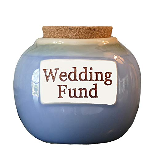 Tumbleweed Cottage Creek Wedding Gifts Wedding Fund Jar Ceramic Round Coin Bank Piggy Bank/Engagement Gifts [Blue]
