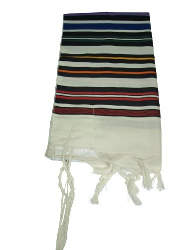 "100% Wool Multi Rainbow Colors Striped Bnei Or Tallit and Tallit Bag Set 47"" L X 68"" W"