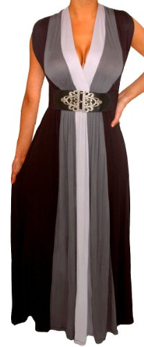 Funfash Plus Size Women Black Slimming Empire Waist Block Maxi Dress Made In USA - Gothic Plus Sizes