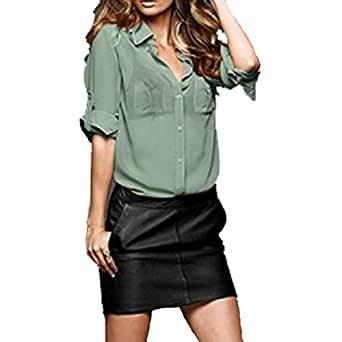 Semi Sheer Button Long Sleeves Shirt Blouse (Medium, Jade)
