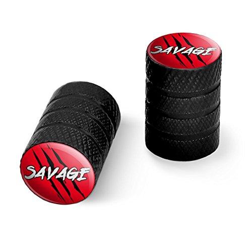 サベージ?クローマーク赤と黒オートバイ自転車バイクタイヤリムホイールアルミバルブステムキャップ - ブラック