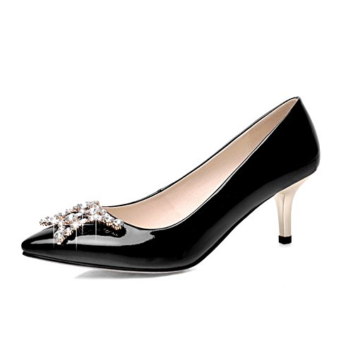 1TO9 Girls Glass Diamond Mule Banquet Patent Leather Pumps-Shoes Black