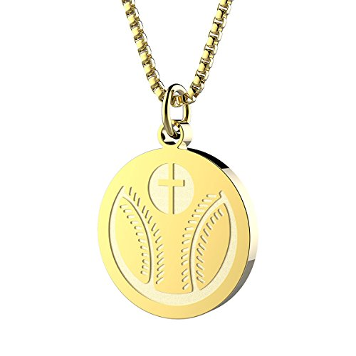 Sport Charm Baseball - Haoflower Sports Pendant Necklace Baseball Inspirational Bible Verse Luke 1:37 Christian Gift for Teens (Baseball - Gold)