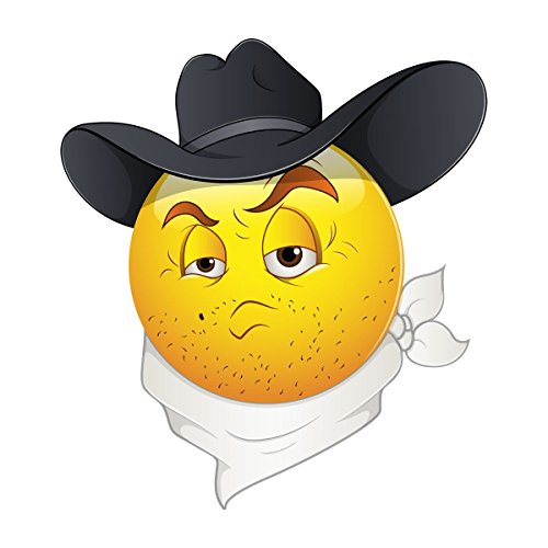 Supertogether Smile Cowboy Emoticons Smiley Bumper Sticker Decal 12 cm