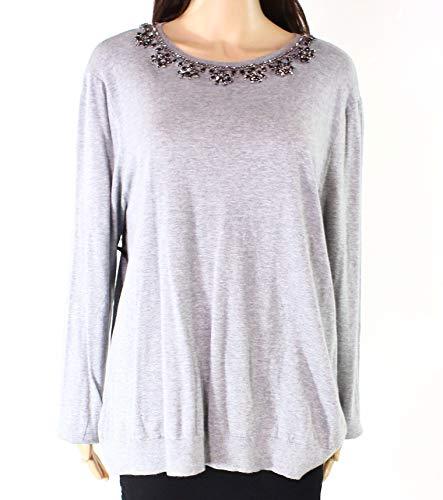 (LAUREN RALPH LAUREN Womens Embellished Long Sleeves Pullover Sweater Gray L)
