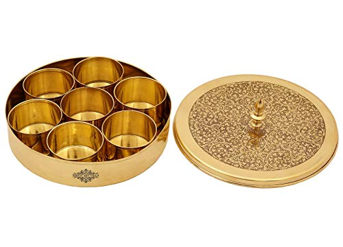 Diameter 7.2 Inch Indian Art Villa Brass Handmade Masala Box Dabba Spice Container with Embossed Lid 7 Compartments Gold