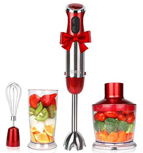 KOIOS Powerful 800W Immersion Blender 12-Speed Multi-Purpose 4-in-1 Hand Blender Includes Stick Blender, 500ml Food Processor, 600ml Mixing Beaker and Whisk, BPA-Free, Red ()
