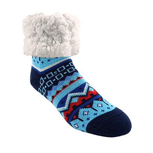 Pudus Nordic Blue Cozy Winter Slipper Socks for Women and Men with Non-Slip Grippers and Faux Fur Sherpa Fleece - Adult Regular Fuzzy Socks