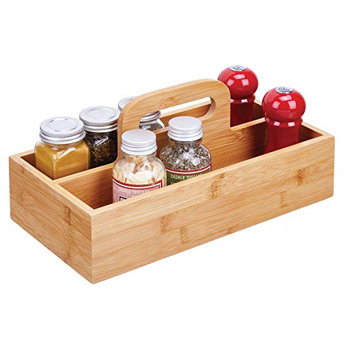 mDesign Bamboo Wood Food Storage Container, Divided Bin with Carrying Handle for Kitchen Cabinet, Pantry, Shelves to Organize Seasonings, Spice Bottles,Salt and Pepper - Natural Finish