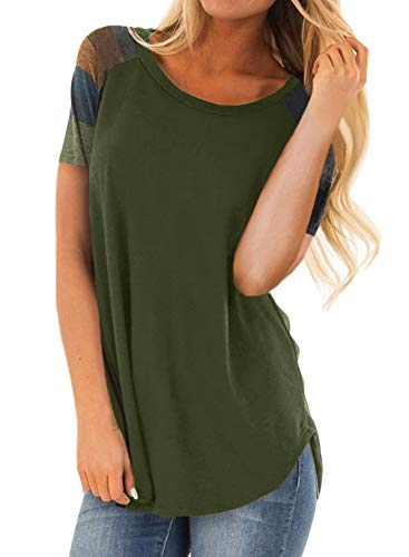 (Asvivid Womens Color Block Short Sleeve Crewneck Cotton Shirt Casual Loose Ladies Pullover Sweatshirt Tops S)