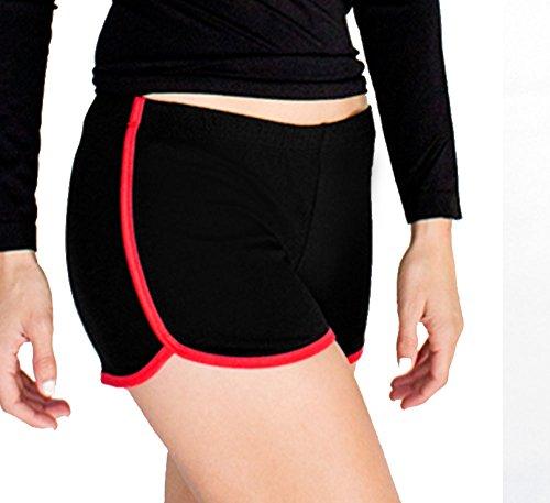 Popular Blend - Popular Basics Women's Retro Inspired Cotton Blend Casual Athletic 'Running' Short Large Black Red Coral