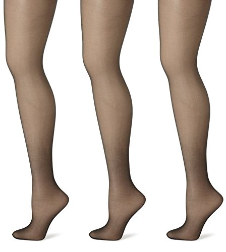 men's Ladies Plus Size Queen Day Sheer Pantyhose Tights Stockings 3-Pack Black 8X ()