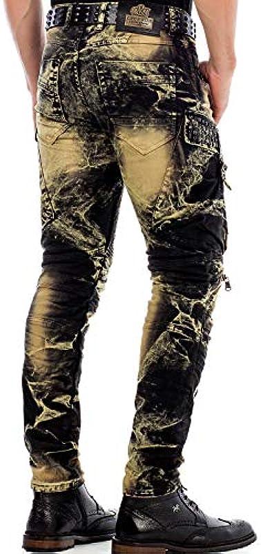 Cipo & Baxx męskie dżinsy Biker Ripped-Destroyed-Frayed-Slim Fit dżinsy z nitami i wzorem Khaki W38 L34: Odzież
