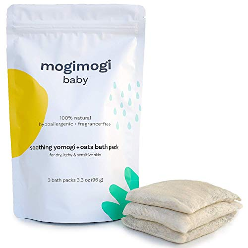 Organic Oatmeal Bath Soak Treatment for Sensitive Skin - Baby & Kids Eczema Relief - All Natural & Fragrance Free - Wash, Soothe and Moisturize All-in-One, 3.3 Oz (6 uses) Made in USA - mogi mogi baby