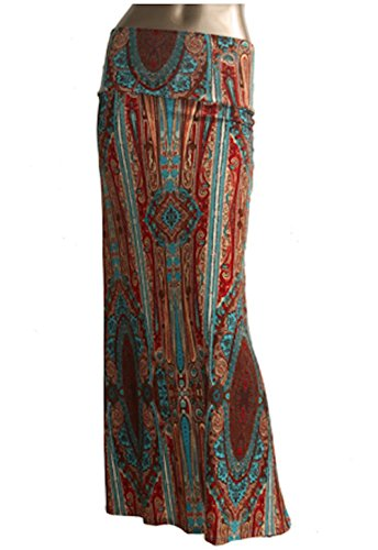 Azules Women's Poly Span Multiple Selection Print Maxi Skirt (M, Brown&Blue E31)