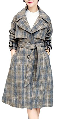 Wool Trench Coat Women's TTYLLMAO Coat Lapel Grey Blend Jacket Plaid Winter Pocket 1FqY4