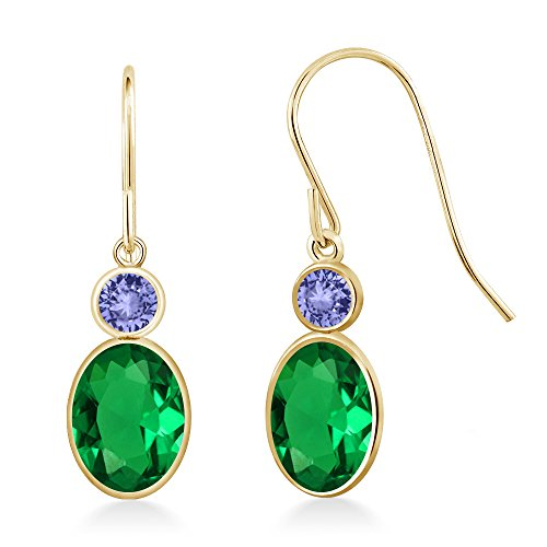 1.44 Ct Oval Green Nano Emerald Blue Tanzanite 14K Yellow Gold Earrings 14k Yellow Gold Tanzanite Earrings