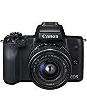 Canon EOS M50 EF-M15-45mm Kit 4K Mirrorless Camera, Black