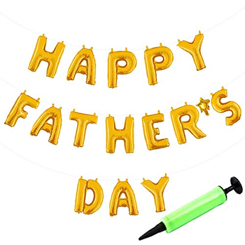 ZSNICE Happy Father's Day Hanging Balloons Banner with mini pump, Father's Day Party Decorations Hanging Foil Golden Balloons Letter Self Sealing Balloons 16inch Non Float -