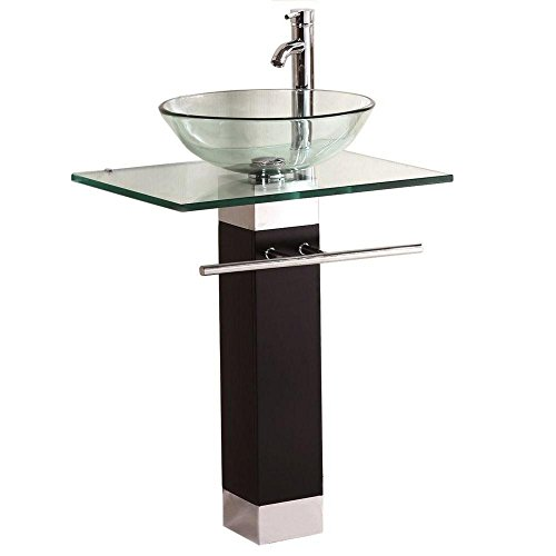 QIERAO Bathroom Vanity Set Tempered Glass Pedestal Sink for Save Bathroom Space ()
