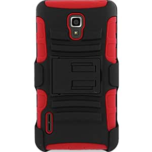 Dual Layer Kickstand Case w/ Holster for LG Optimus F7 LG870 US780, Black/Red