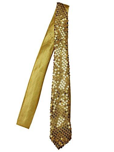 Gold Sequin Thin Unisex Neck Tie]()