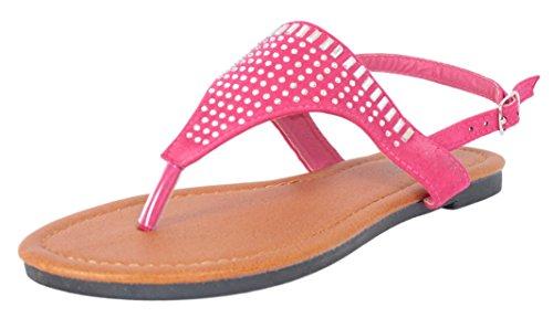 3' Heel Rhinestones (Bebe Girls\' Microsuede With Studded Rhinestone Detail Fuchsia Thong Sandals, Size 2-3')