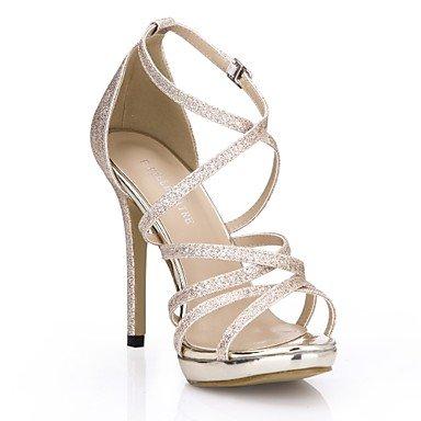 LvYuan Mujer-Tacón Stiletto-Confort-Sandalias-Boda Vestido Fiesta y Noche-Sintético-Plata Oro Gold