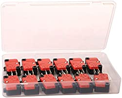 Gebildet 12pcs 125V//250V 15A Momentary Micro Switch for Microwave Oven Door Arcade Cherry Push Button Snap Action SPDT 1 NO 1 NC Limit Switch V-15-1C25