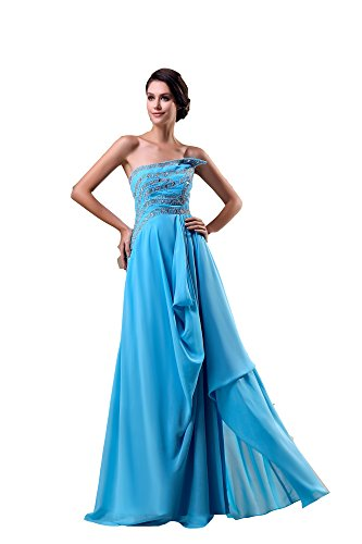 VogueZone009 Womens Strapless Pongee Silk Chiffon Full Dress, ColorCards, 16 by VogueZone009
