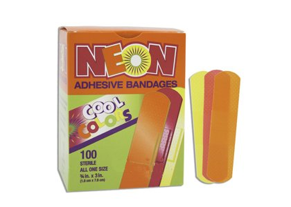 Pivit Kids Neon Self Adhesive Bandages | 3/4'' x 3'' | Bright Yellow Orange Pink Colored | Box of 100 | Waterproof Strong Adhesion Absorbent Non-Stick Wound Pad | Sterile Latex Free Individually Wrapped by pivit