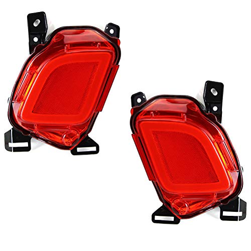 iJDMTOY Red Lens 3-In-1 LED Rear Fog Light Assembly For 2014-up Toyota Highlander, JDM Style LED Assy Functions as Rear Fog Lamp, Brake Light & Bumper Reflector ()