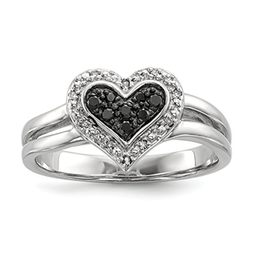 ICE CARATS 925 Sterling Silver White Black Diamond Heart Band Ring Size 8.00 S/love Fine Jewelry Gift Set For Women Heart by ICE CARATS