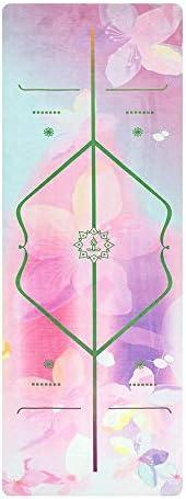 Yoga mat スエード天然ゴムヨガマット超薄型プリントノンスリップヨガマット折り畳み式ヨガタオル workout