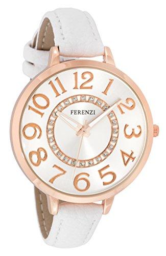 FERENZI Women's | Classic Rose Gold-Tone and White Large Easy Reader Analogue Quartz Fashion Watch | FZ17703