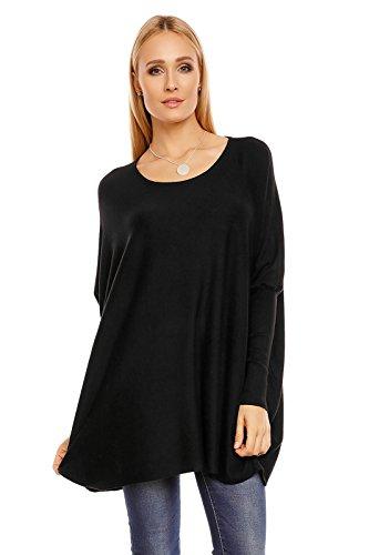 BELCCI Damen Pullover im Oversize Look, ein eleganter Alltags-Pulli in vielen Farben, Gr. 34-38 Schwarz