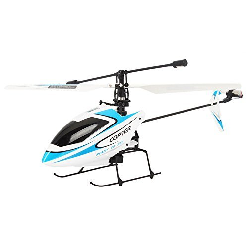 (WL 4CH 2.4GHz Mini Radio Single Propeller RC Helicopter Gyro V911 RTF White&Blue)