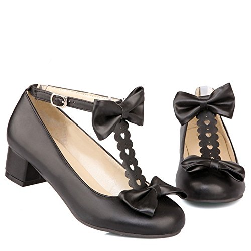 Black Pumps with Comfort Buckle Shoes Women Strap Heel Strap TAOFFEN Bow T Low TZw7Fxqf
