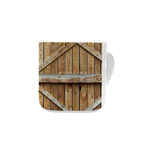 Rustic White Heart Shaped Mug,Traditional Wooden Timber Door with Vertical and Cross Planks Farmhouse Antique Photo for Home,2.56