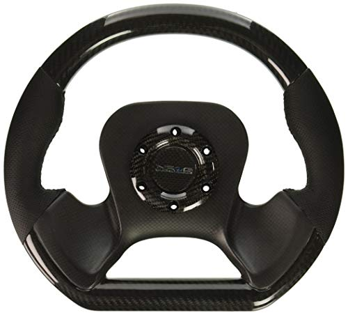 NRG Innovations ST-X10CF Fiber Steering Wheel with Leather Accent (320mm CF Center Plate Two Tone Carbon)
